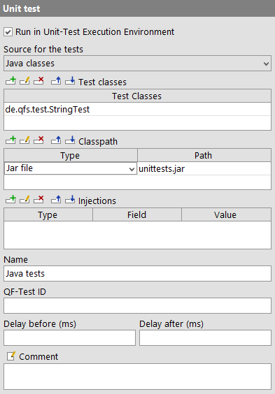 Example for a Unit Test node with Java classes