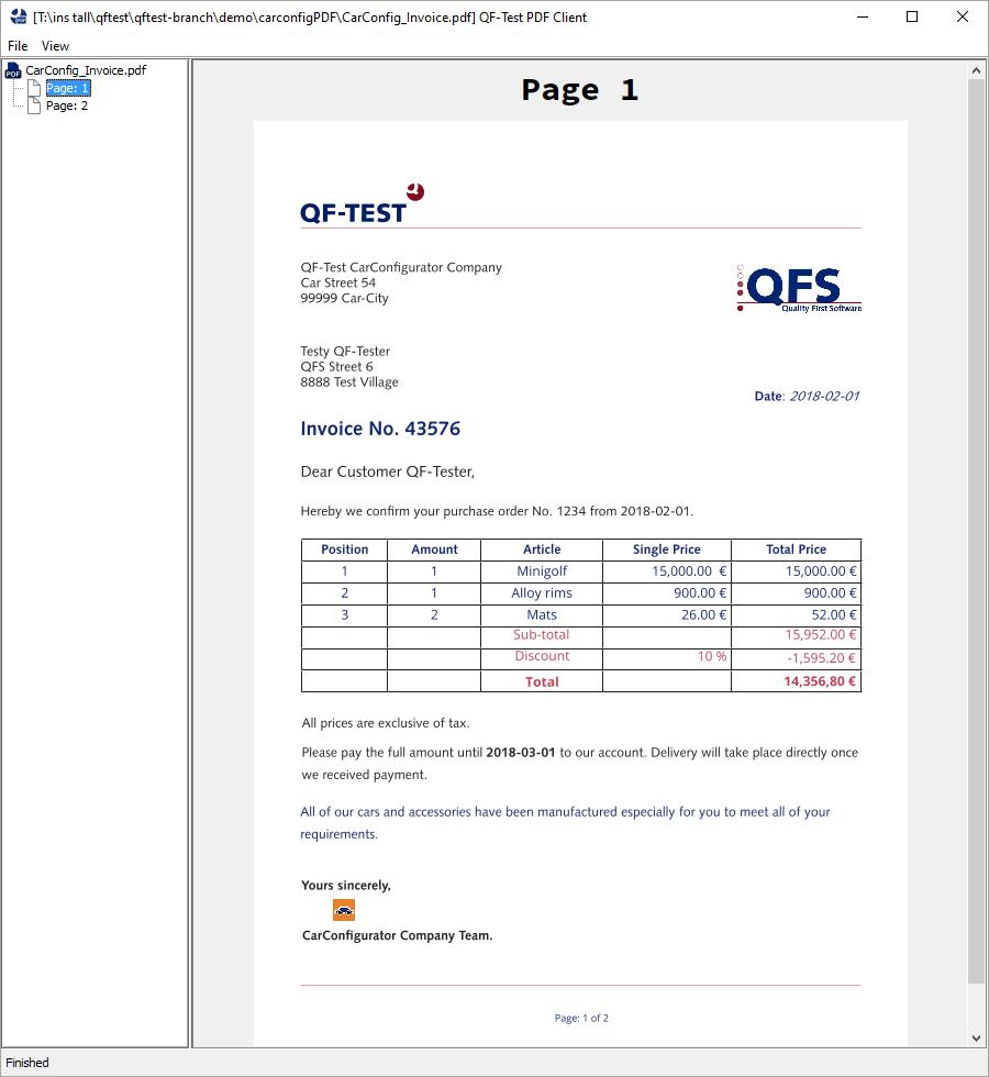 PDF Client Hauptfenster mit geöffnetem PDF Dokument