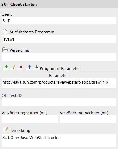 Starten des SUT mittels Java WebStart