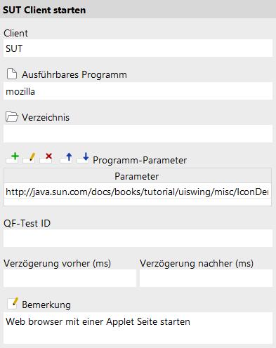 Starten des SUT als Applets im Web Browser