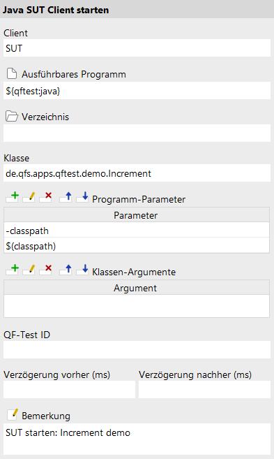 Java SUT Client starten Attribute