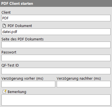 PDF Client starten Attribute