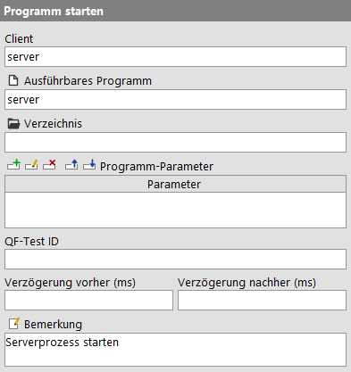Programm starten Attribute