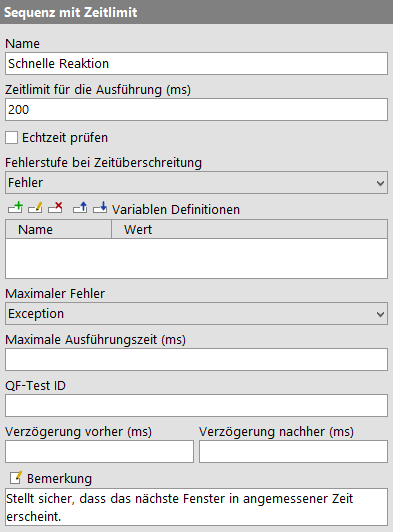 Sequenz mit Zeitlimit Attribute