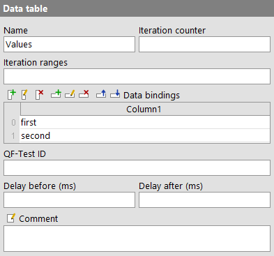 'Data table' attributes