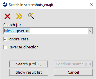 The simple search dialog