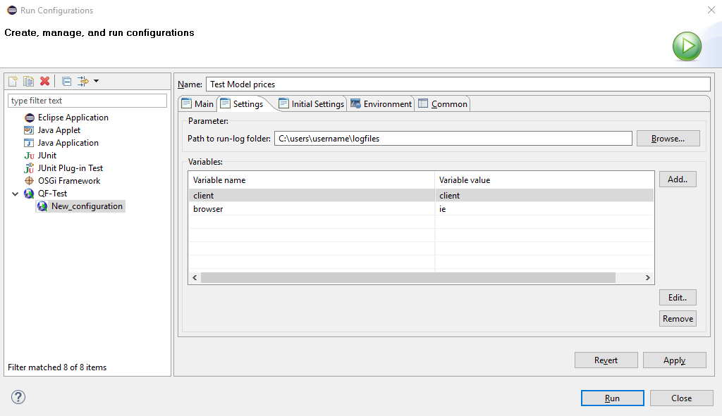 Eclipse plugin configuration Settings tab