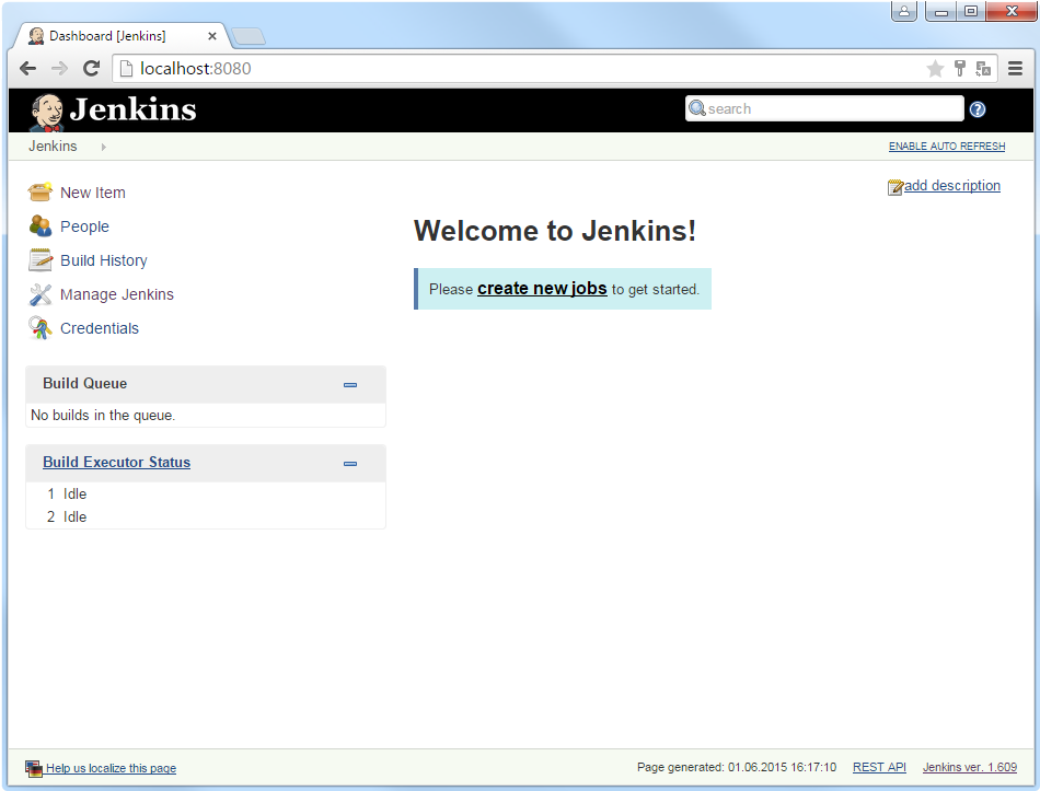 Jenkins Start Screen