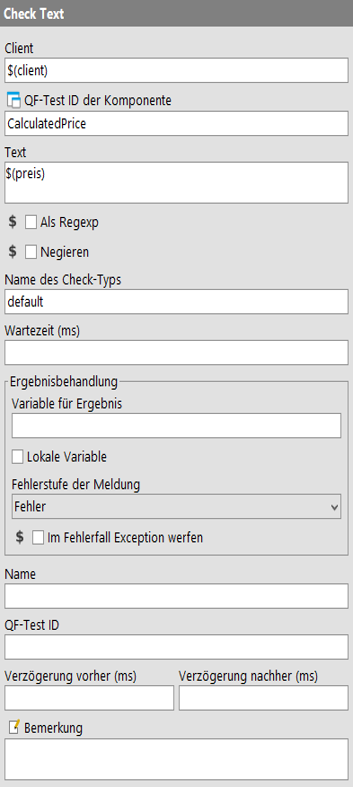 'Check text' node