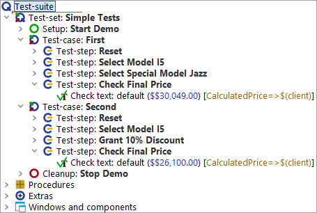 Two almost identical         test-steps